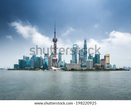 shanghai skyline with huangpu river  ,modern city background