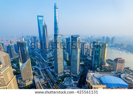 Shanghai Skyline with its newly built  iconic skyscrapers. - stock photo
