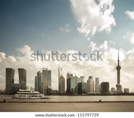 shanghai skyline with north bund pier - stock photo