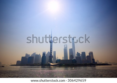 Shanghai skyline with pollution smog, China - stock photo