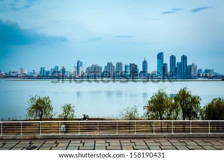 shanghai skyline with reflection,China - stock photo