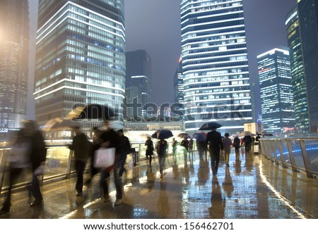 Shanghai street rain at night   - stock photo