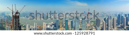 Shanghai urban city aerial panorama view with skyscrapers - stock photo