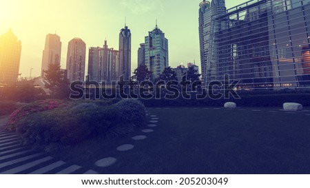 Shanghai Urban Construction, night  - stock photo