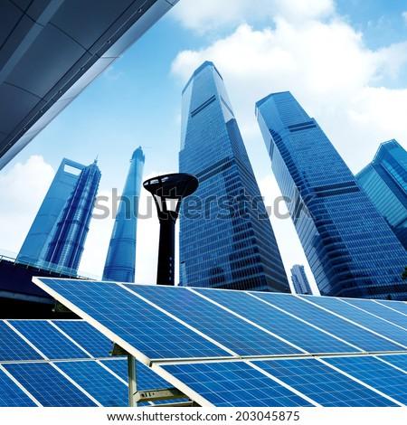 Shanghai urban landscape, Chinese landmarks and photovoltaic panels. - stock photo