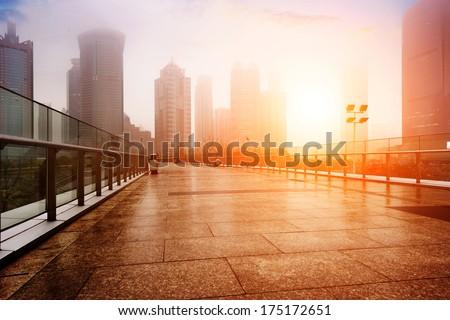 Shanghai urban landscape,in fog,pollution - stock photo