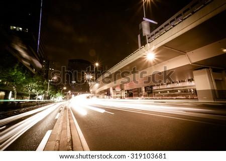 Shanghai Urban Transport, evening - stock photo