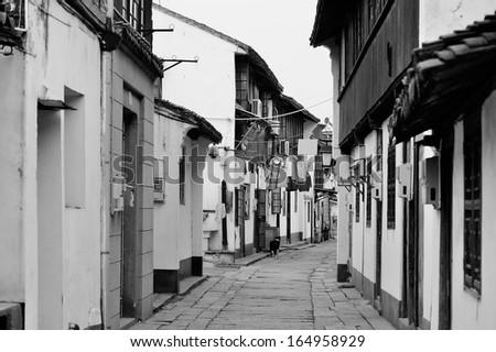 Shanghai Zhujiajiao town old street with historic buildings - stock photo