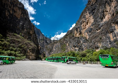 Shangri-la, China - May 10, 2016: The parking lost at the entrance of Balagezong Shangri-La Grand Canyon National Park ,the UNESCO World Heritage site of China
