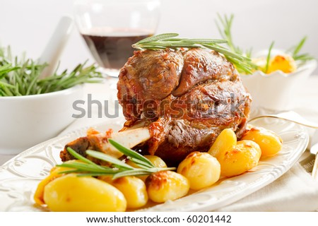 shank with potatoes - stock photo