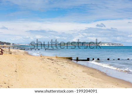 Shanklin beach Isle of Wight a tourist town on the east coast of this English island - stock photo