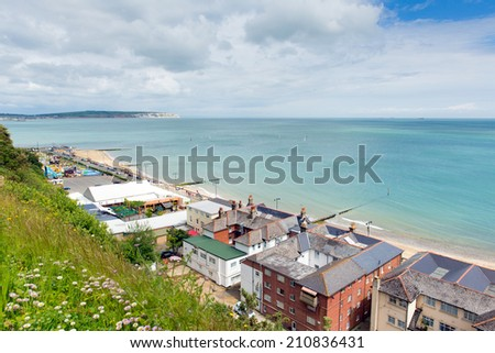Shanklin Isle of Wight England UK popular tourist and holiday location east coast of the island on Sandown Bay with sandy beach, view to Culver Down.  - stock photo