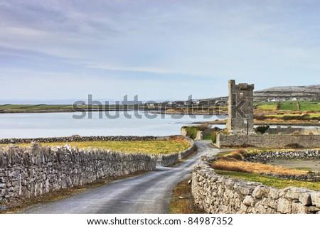 Shanmuckinish Castle, The Burren, Co. Clare, Ireland. - stock photo