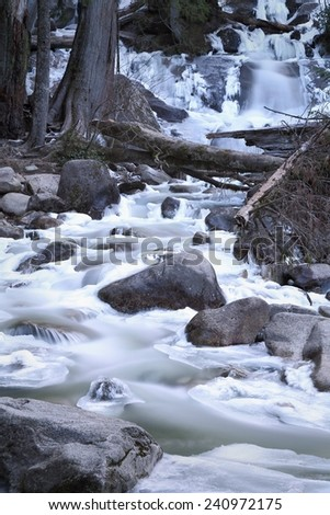 Shannon Falls Creek. Motion blur of the lower portion of Shannon Falls in Winter. Shannon Falls is located just outside Squamish just north of Vancouver and next to Howe Sound.  - stock photo