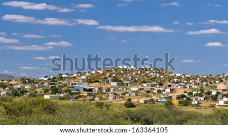 Shanty town on the outskirts of the Katutura suburb in Windhoek, Namibia. - stock photo