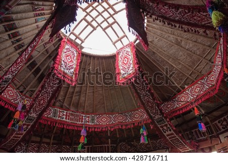 Shanyrak - The wooden crown of the yurt. 