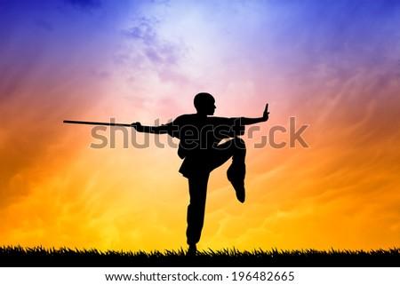 Shaolin pose at sunset - stock photo