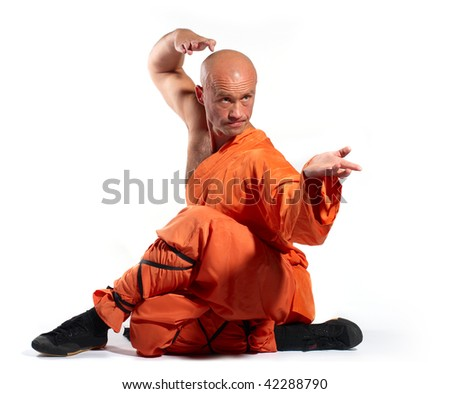 Shaolin warriors monk on white background - stock photo