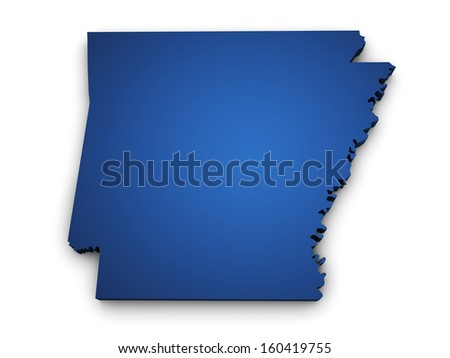 Shape 3d of Arkansas map colored in blue and isolated on white background. - stock photo