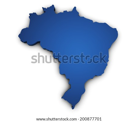 Shape 3d of Brazil map colored in blue and isolated on white background. - stock photo