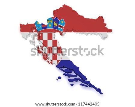 Shape 3d of Croatia map with flag isolated on white background. - stock photo