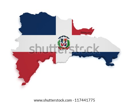 Shape 3d of Dominican Republic map with flag isolated on white background. - stock photo