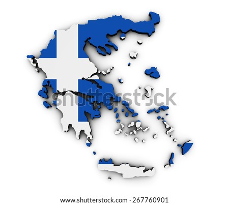 Shape 3d of Greece map with Greek flag illustration isolated on white background. - stock photo