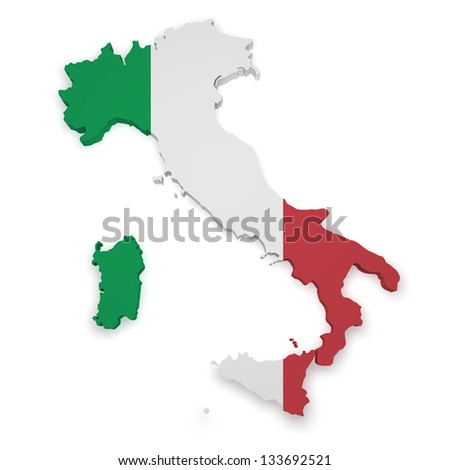 Shape 3d of Italy flag and map isolated on white background.