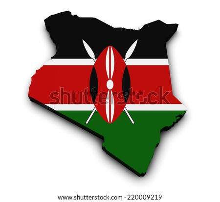 Shape 3d of Kenya map with flag isolated on white background. - stock photo