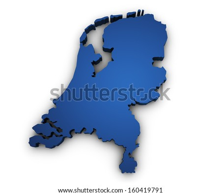 Shape 3d of Netherlands map colored in blue and isolated on white background. - stock photo