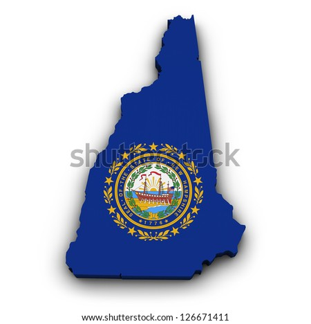 Shape 3d of New Hampshire map with flag isolated on white background. - stock photo