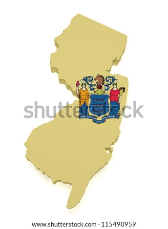 Shape 3d of New Jersey map with flag isolated on white background.