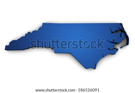 Shape 3d of North Carolina State map colored in blue and isolated on white background. - stock photo