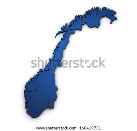 Shape 3d of Norway map colored in blue and isolated on white background. - stock photo