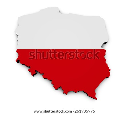 Shape 3d of Poland map with Polish flag isolated on white background. - stock photo