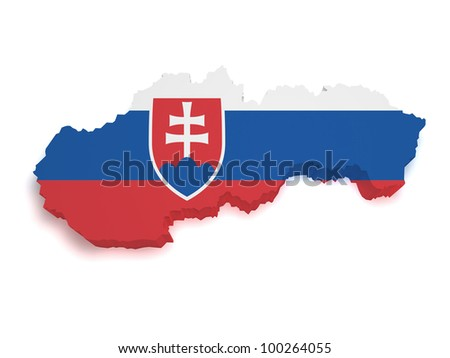 Shape 3d of Slovakian flag and map isolated on white background.
