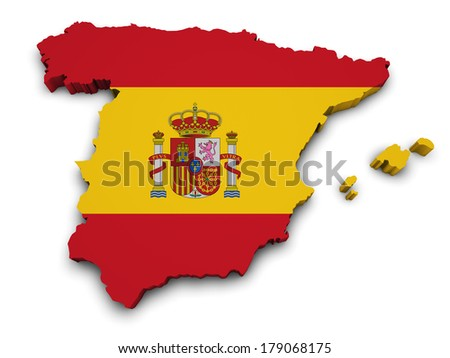 Shape 3d of Spain map with flag isolated on white background. - stock photo