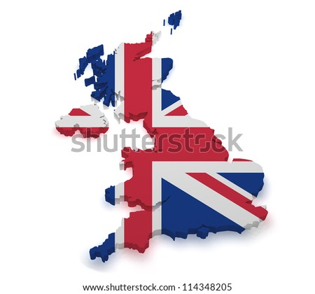 Shape 3d of United Kingdom map with flag isolated on white background. - stock photo