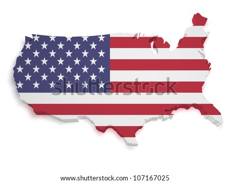 Shape 3d of United States of America flag and map isolated on white background. - stock photo