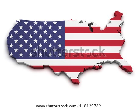 Shape 3d of United States Of America map with flag isolated on white background. - stock photo