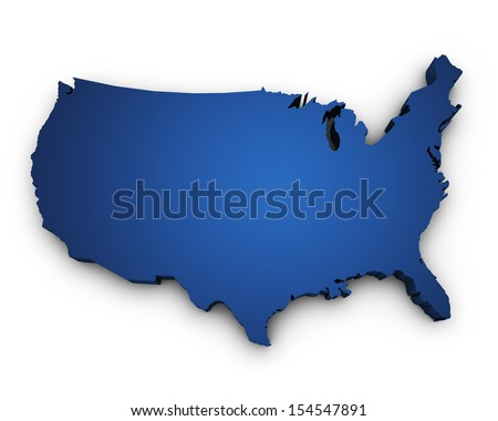 Shape 3d of USA United States Of America map colored in blue and isolated on white background. - stock photo