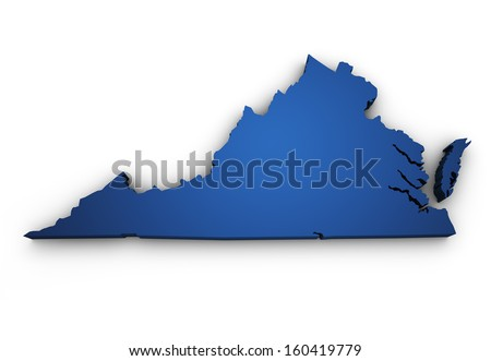 Shape 3d of Virginia map colored in blue and isolated on white background. - stock photo