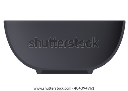 Shape empty plate in cut on clean background. Half plate of front side view. Blank to display recipes and food. 3d illustration. - stock photo