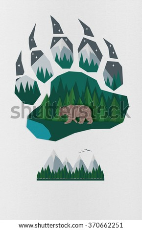 shape of bear's paw and logo mountain with sea, forest and sky