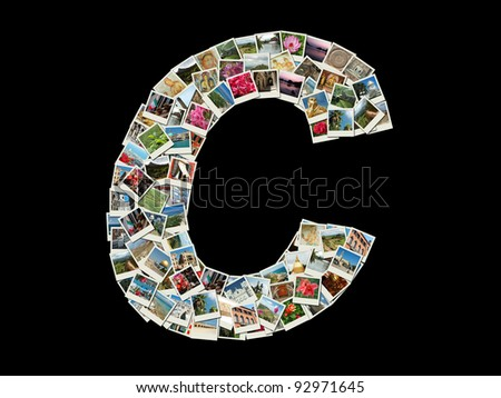 "Shape of  ""C"" letter made like collage of travel photos,all photos are my own"