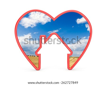 Shape of heart with house and the scenery inside - stock photo