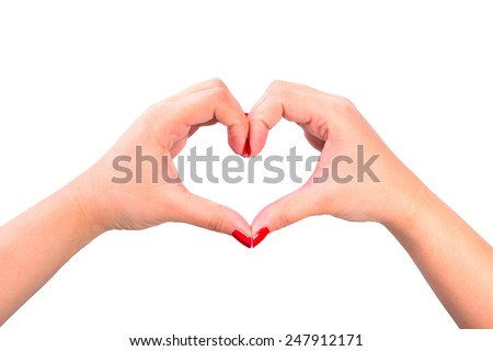 Shape of the heart made by female hands isolated on white - stock photo