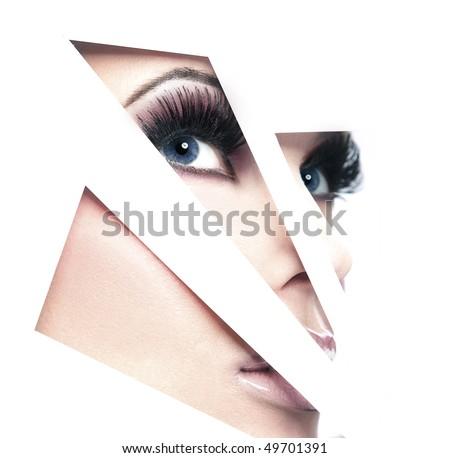 Shaped portrait of beautiful lady - stock photo