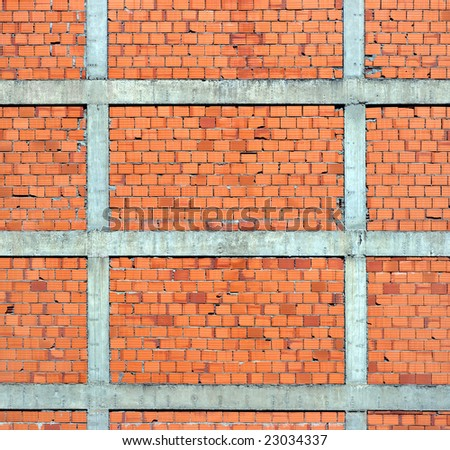 Shapes and forms of a red brick wall.