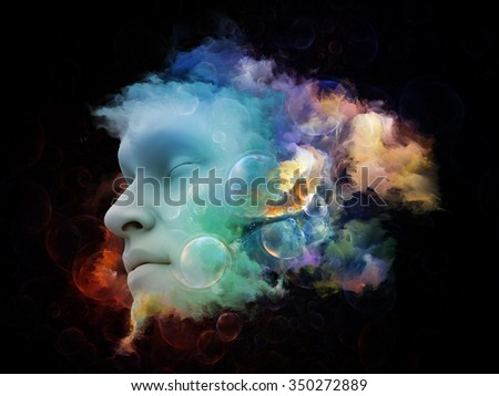 Shards of Dream series. Composition of human face and colorful graphic elements suitable as a backdrop for the projects on dreams, mind, spirituality, imagination and inner world - stock photo